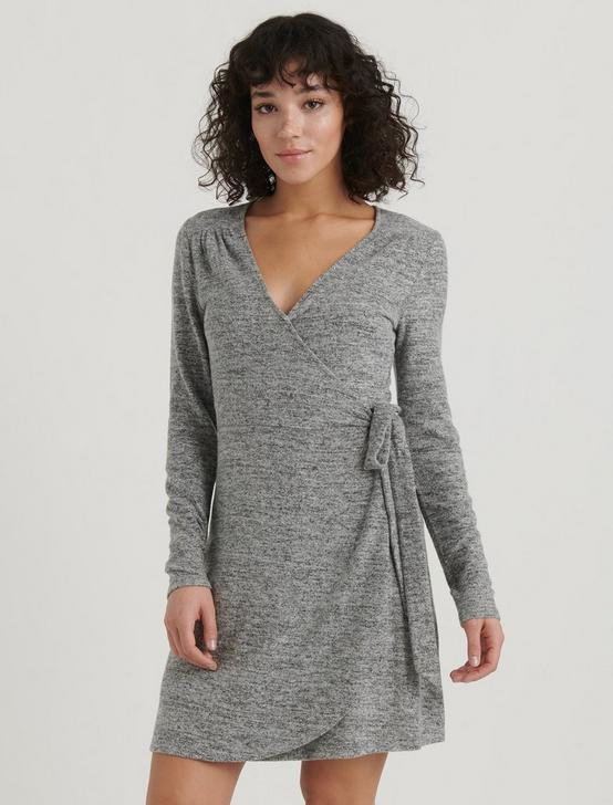 CLOUD JERSEY WRAP DRESS, HEATHER GREY, productTileDesktop