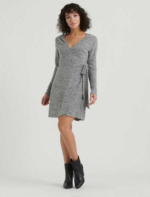 CLOUD JERSEY WRAP DRESS, HEATHER GREY