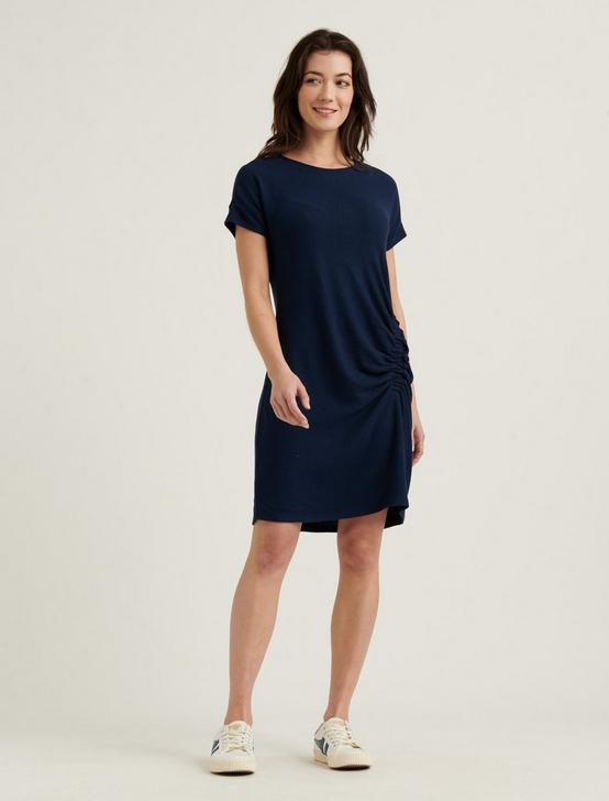 RUCHED CLOUD JERSEY DRESS, AMERICAN NAVY, productTileDesktop