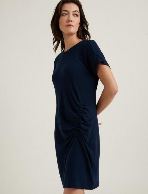 RUCHED CLOUD JERSEY DRESS, AMERICAN NAVY