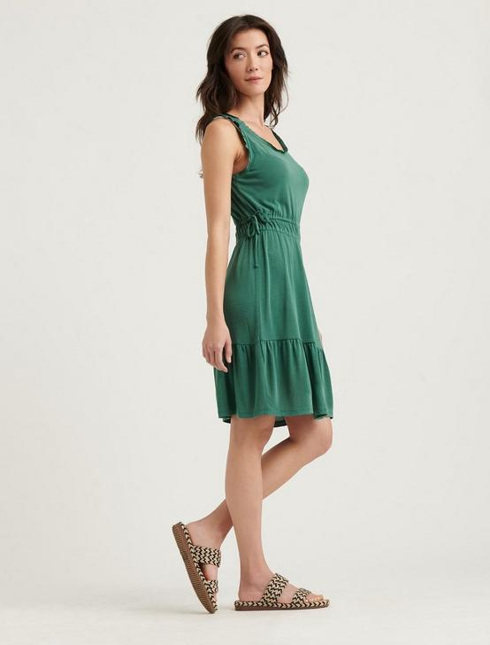 RUFFLE TRIM DRESS, DEEP LICHEN GREEN, productTileDesktop