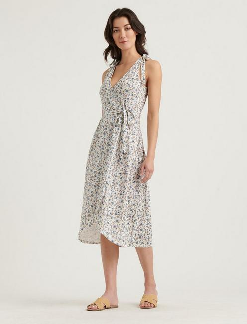TIE SHOULDER WRAP DRESS,