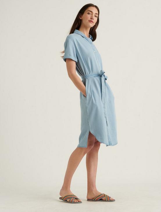 AVALON TENCEL SHIRT DRESS, LIGHT WASH, productTileDesktop
