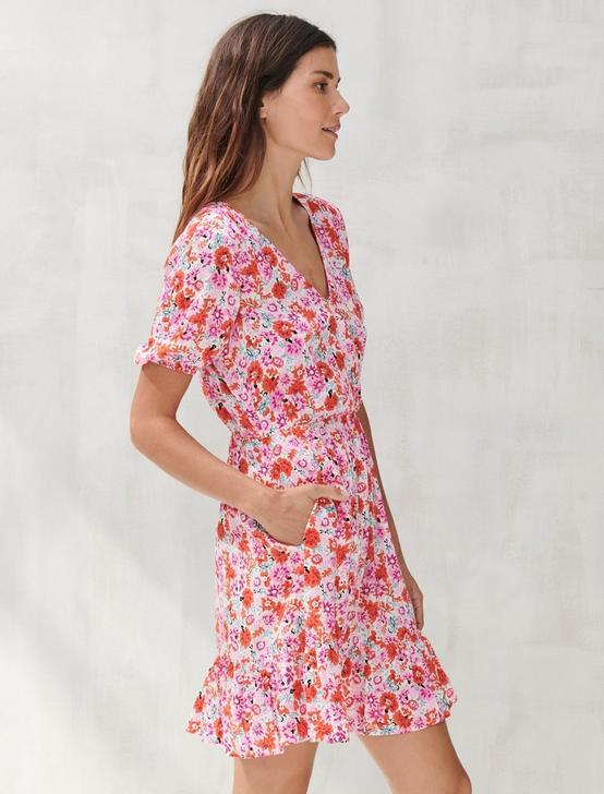 DITSY FLORAL MILA WRAP DRESS, PINK MULTI, productTileDesktop