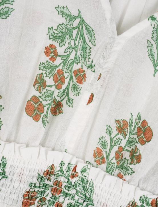 WOODBLOCK PRINTED LAUREL DRESS, WHITE MULTI, productTileDesktop