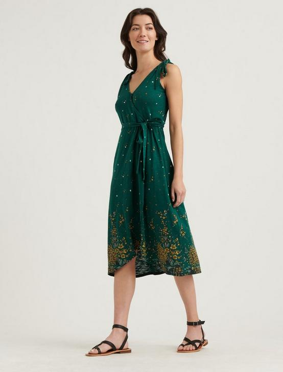 TIE SHOULDER WRAP DRESS, GREEN MULTI, productTileDesktop