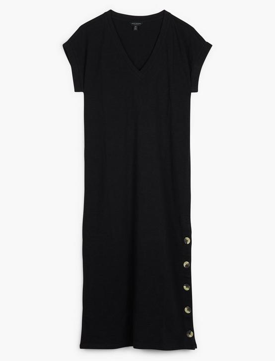 BUTTON SIDE KNIT DRESS, 001 LUCKY BLACK, productTileDesktop