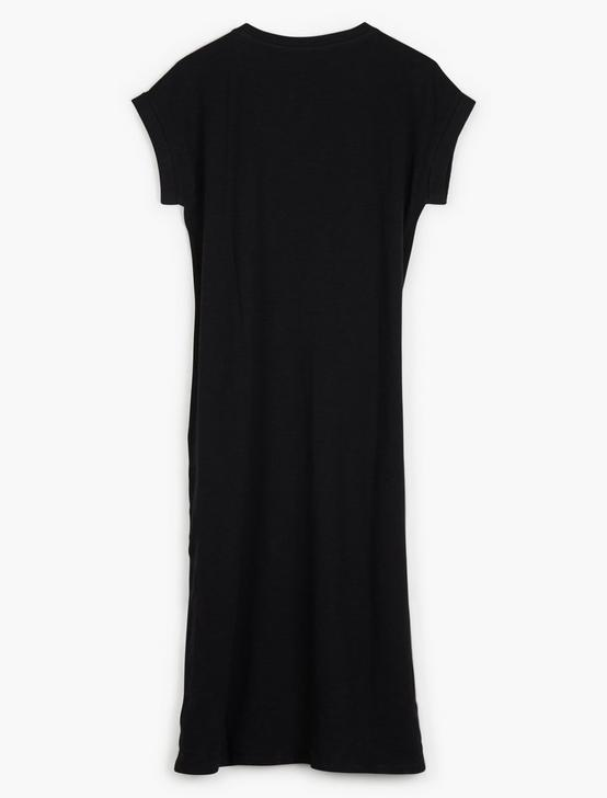 SIDE BUTTON KNIT DRESS, 001 LUCKY BLACK, productTileDesktop