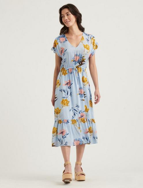 FLORAL PRINTED SILVY DRESS, BLUE MULTI