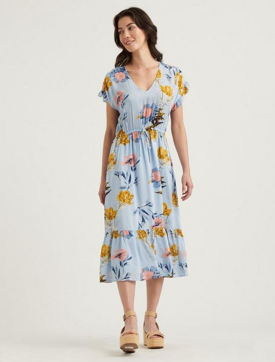 FLORAL PRINTED SILVY DRESS, BLUE MULTI, productTileDesktop