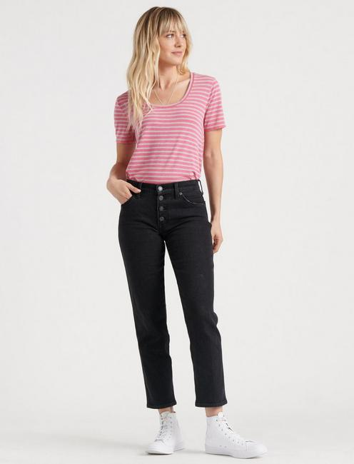 SCOOP NECK STRIPED TEE, PINK MULTI