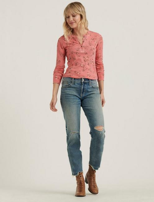 PRINTED BURNOUT HENLEY TEE, CORAL MULTI