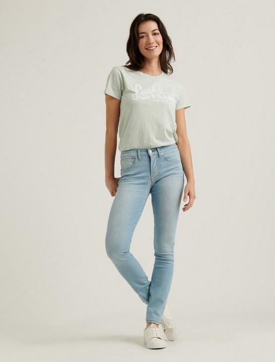 LUCKY BRAND SCRIPTED TEE, MISTY BLUE, productTileDesktop