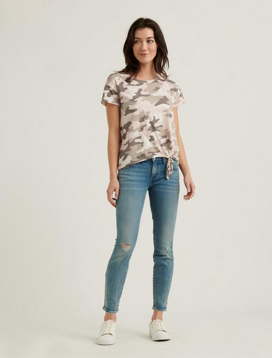 CAMO SIDE TIE TEE, NATURAL MULTI, productTileDesktop