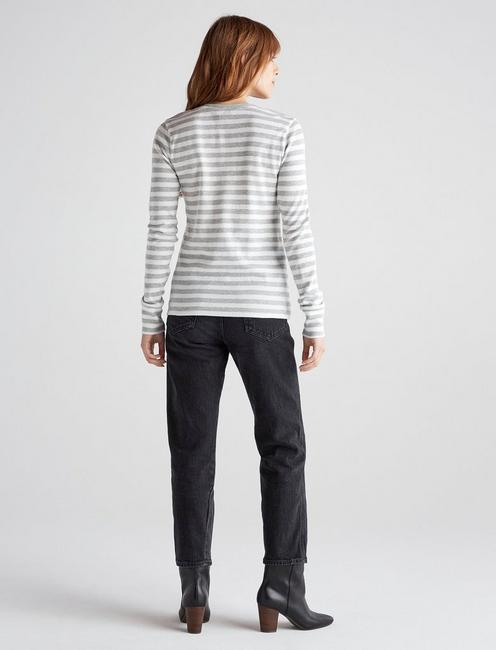 STRIPED HENLEY TEE, GREY STRIPE