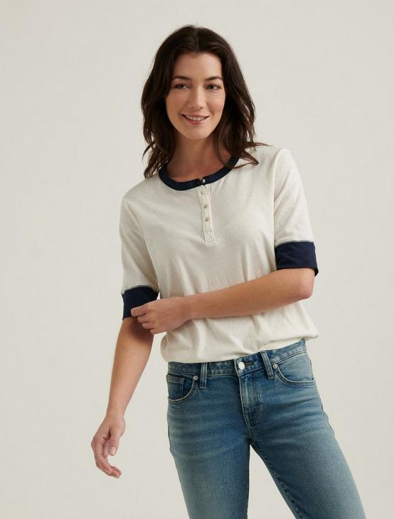 BUTTON DOWN COLOR BLOCK TEE, , productTileDesktop