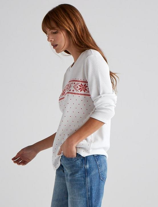 SNOW FAIR ISLE TEE, LUCKY WHITE, productTileDesktop