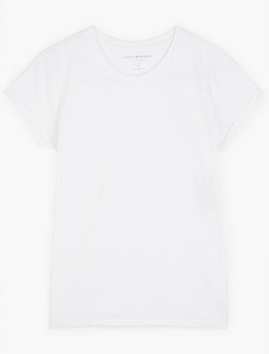 CREW NECK ROLLED SLEEVE, LUCKY WHITE, productTileDesktop