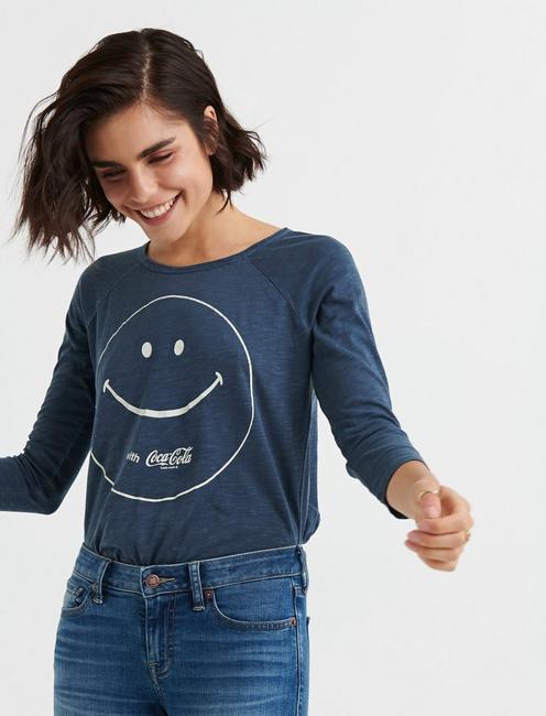 3/4 SLV COCA COLA SMILE TEE, AMERICAN NAVY