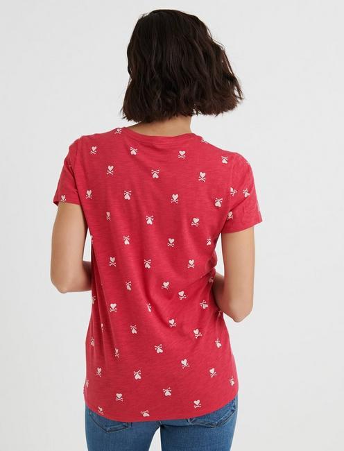 Short Sleeve CROSS MY HEART TEE, RED ROSES