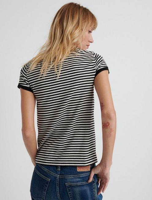 Short Sleeve LUCKY STRIPE TEE, BLACK/WHITE STRIPE