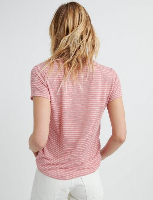 SS STRIPE TEE, #6516 DUSTY ROSE