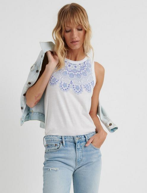 LACE PRINT TANK, LUCKY WHITE