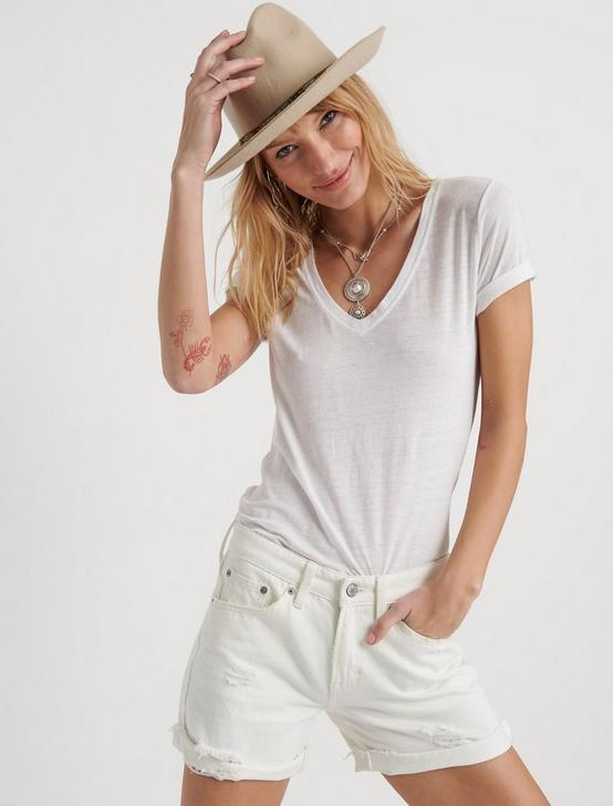 Venice Burnout V Neck, LUCKY WHITE, productTileDesktop