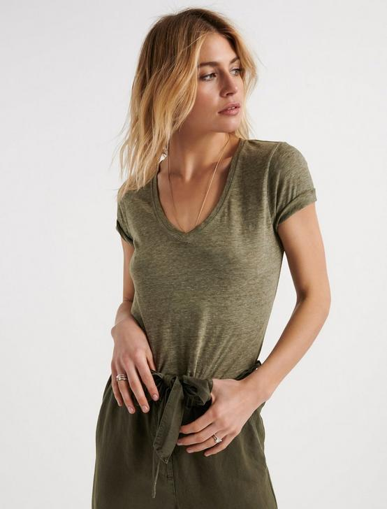 Venice Burnout V Neck, IVY GREEN, productTileDesktop