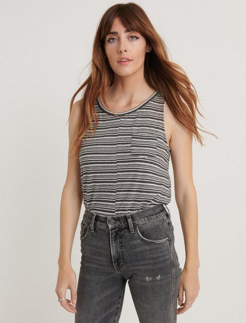 STRIPE POCKET TANK, BLACK STRIPE