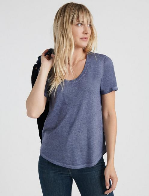 BURNOUT SCOOP NECK TEE, #4963 BLUE NIGHTS
