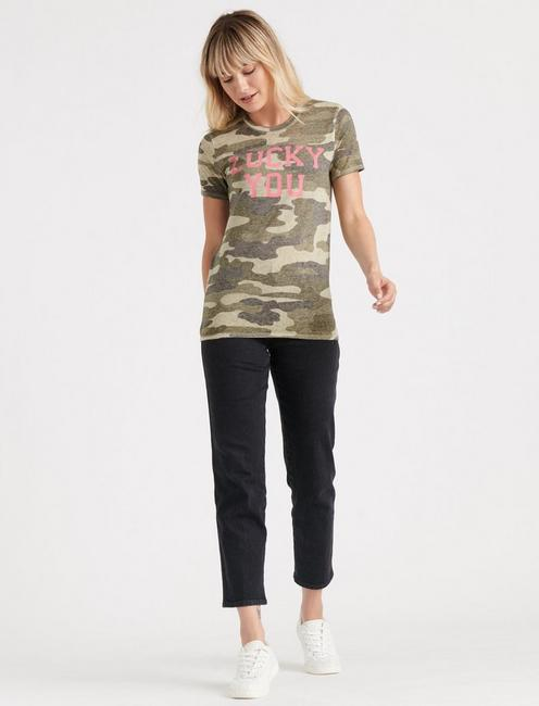 LUCKY YOU CAMO TEE, GREEN MULTI