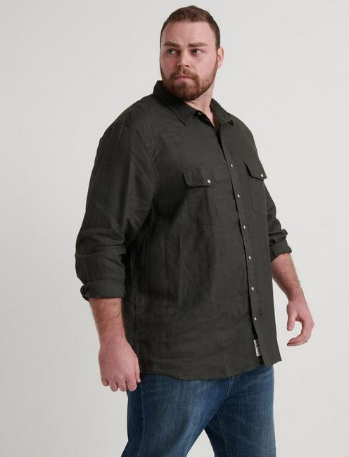 Big & Tall French Linen Western, BLACK MOUNTAIN