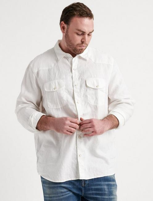 Big & Tall French Linen Western, WHITE