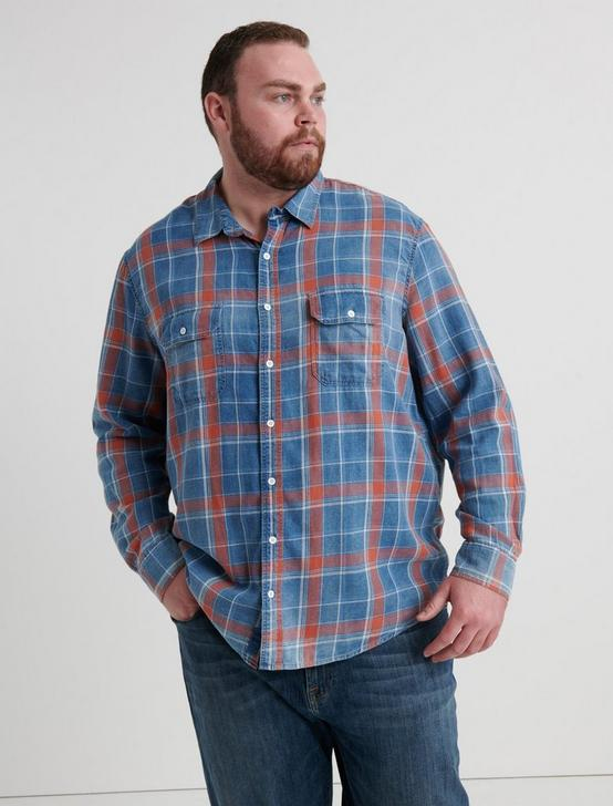 BIG AND TALL AXE INDIGO SHIRT, SALMON, productTileDesktop