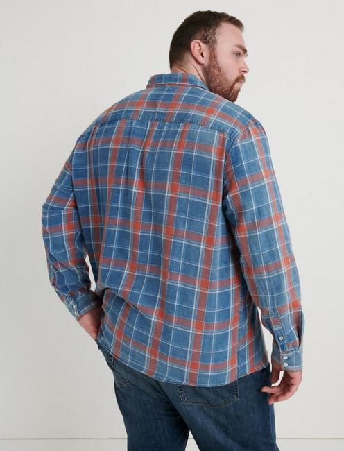 BIG AND TALL AXE INDIGO SHIRT, SALMON