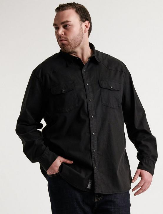 BIG & TALL LS SANTA FE WESTERN, WASHED BLACK, productTileDesktop