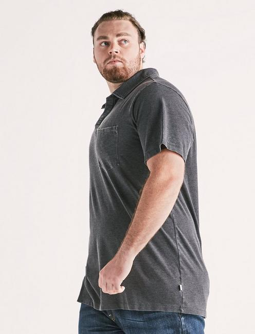 Big and Tall Burnout Polo, JET BLACK