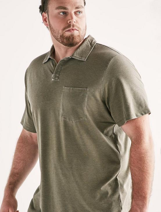 Big and Tall Burnout Polo, OLIVE NIGHT, productTileDesktop