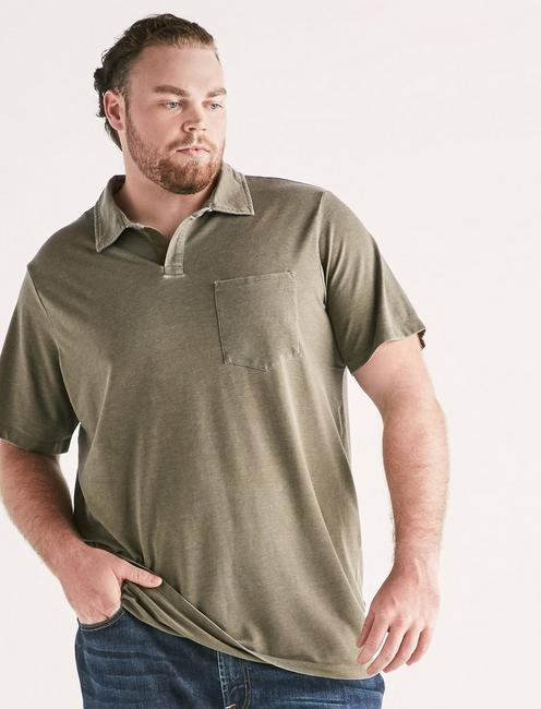 Big and Tall Burnout Polo, OLIVE NIGHT