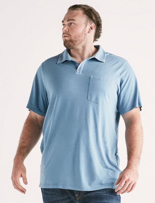Big and Tall Burnout Polo, BLUE HEAVEN
