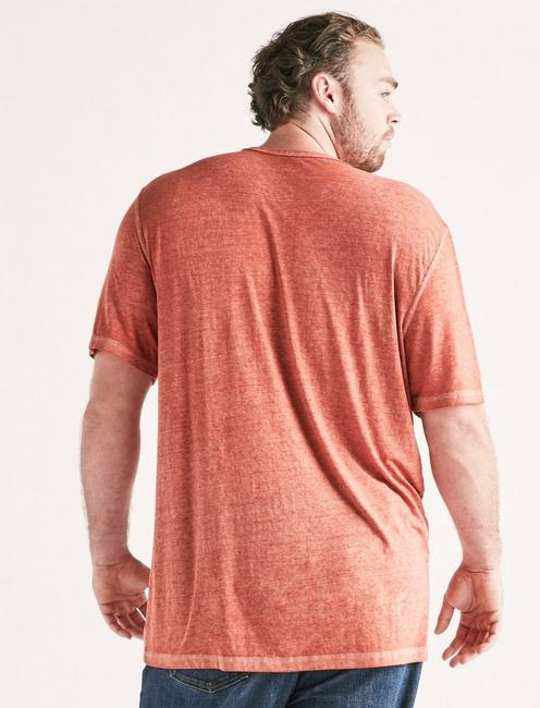 Big and Tall Venice Burnout Notch Tee, BARN RED