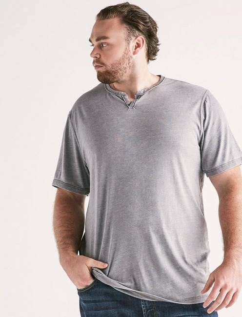 Big and Tall Venice Burnout Button Notch Tee, FROST GRAY