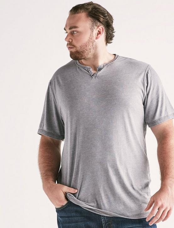 Big and Tall Venice Burnout Button Notch Tee, FROST GRAY, productTileDesktop