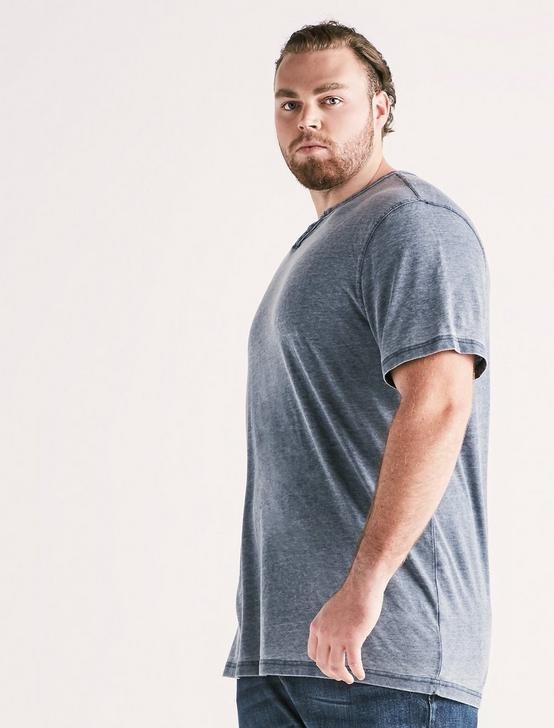 Big and Tall Venice Burnout Button Notch Tee, AMERICAN NAVY, productTileDesktop