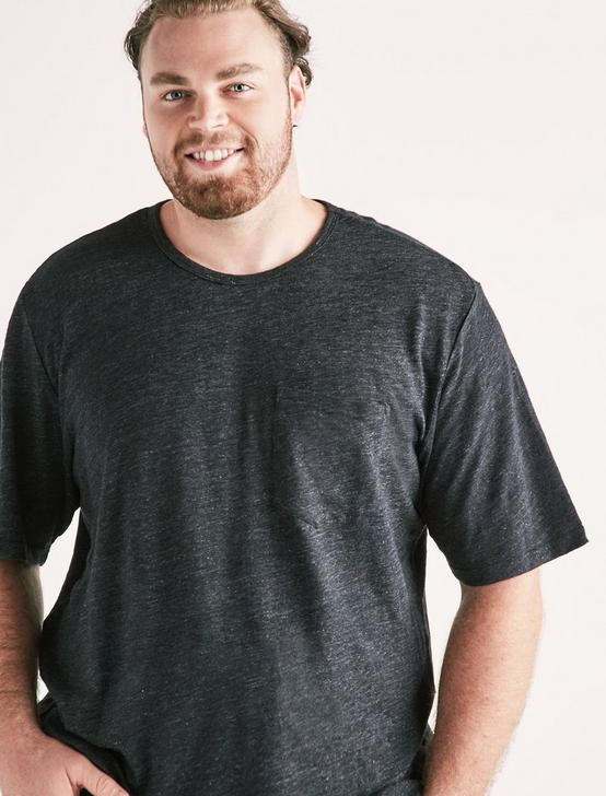 Big and Tall Linen Pocket Crew Tee, #001 BLACK, productTileDesktop