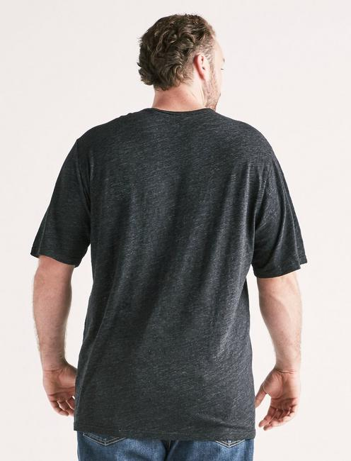 Big and Tall Linen Pocket Crew Tee, #001 BLACK