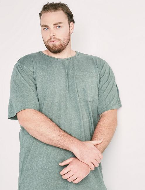 Big and Tall Linen Pocket Crew Tee, LAUREL WREATH