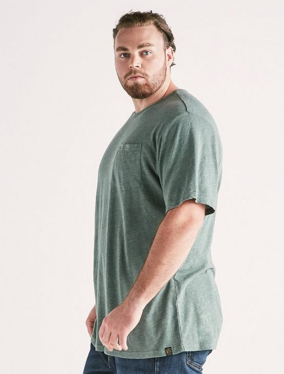 Big and Tall Linen Pocket Crew Tee, LAUREL WREATH, productTileDesktop
