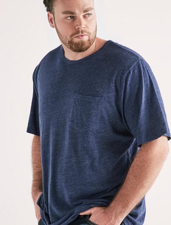 Big And Tall Linen Pocket Crew Tee